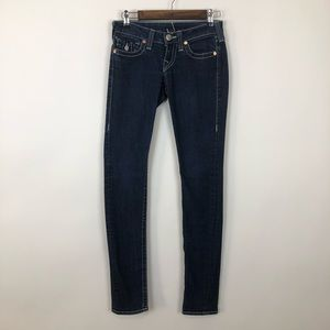 True religion dark denim flappocket skinny jean 24